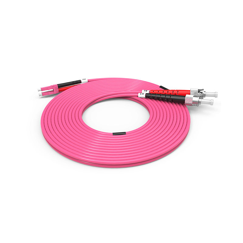 Fiber Optic Patch Cord, LC ST duplex optical patch cord mm OM4 Violet