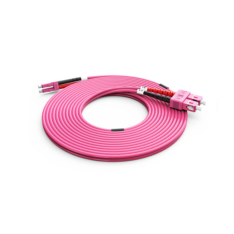 Fiber Optic Patch Cord, LC SC duplex optical patch cord mm OM4 Violet