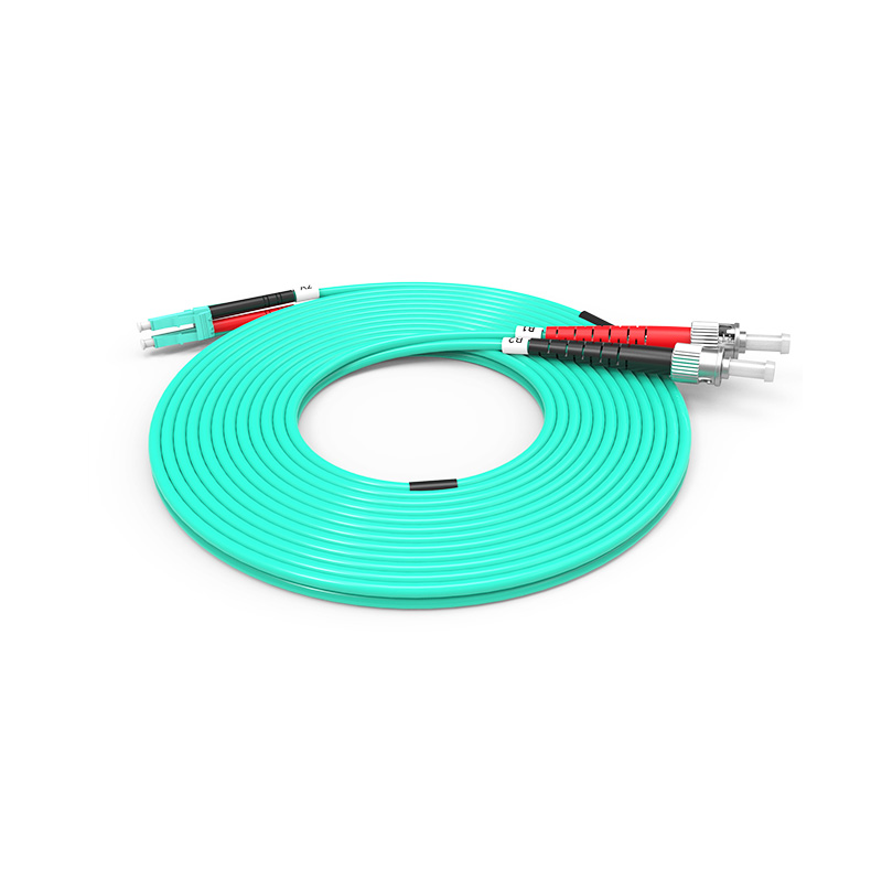 Fiber Optic Patch Cord, LC ST duplex optical patch cord mm OM3 aqua