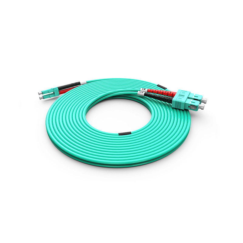 Fiber Optic Patch Cord, LC SC duplex optical patch cord mm OM3 aqua