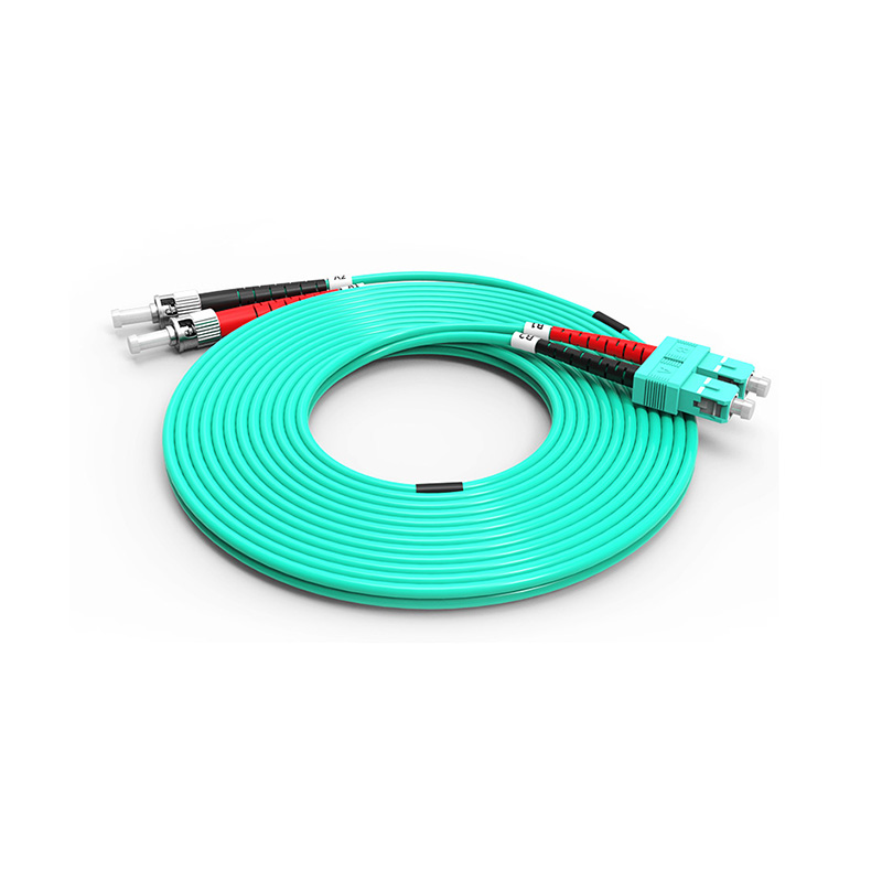 Fiber Optic Patch Cord, ST SC duplex optical patch cord mm OM3 aqua